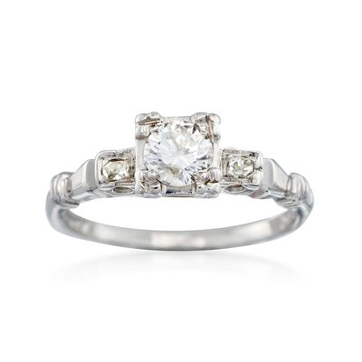C. 1950 Vintage .48 ct. t.w. Diamond Ring in 18kt White Gold, , default