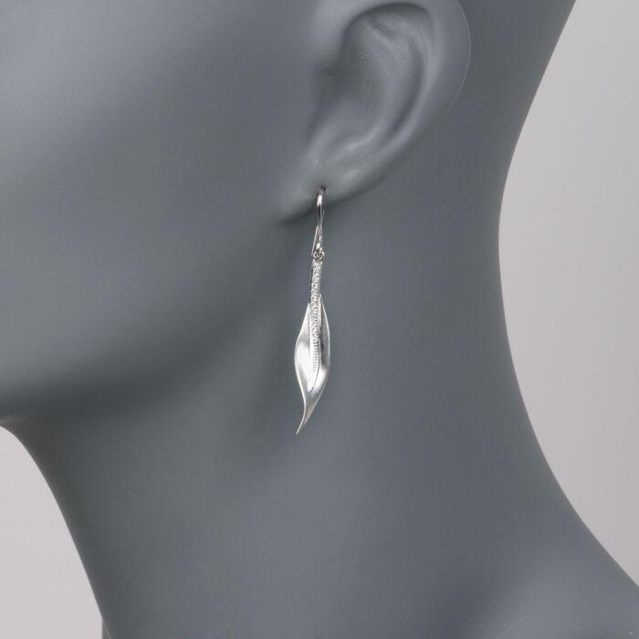 Simon G. .13 ct. t.w. Diamond Leaf Earrings in 18kt White Gold