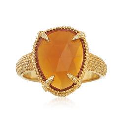 Orange Fire Opal Ring in 18kt Gold Over Sterling Silver, , default
