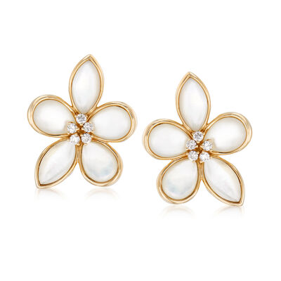 Mother-Of-Pearl and .40 ct. t.w. Diamond Flower Earrings in 14kt Yellow Gold, , default