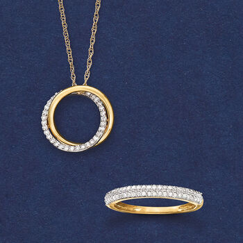 .20 ct. t.w. Diamond Double Eternity Circle Pendant Necklace in 14kt Yellow Gold, , default