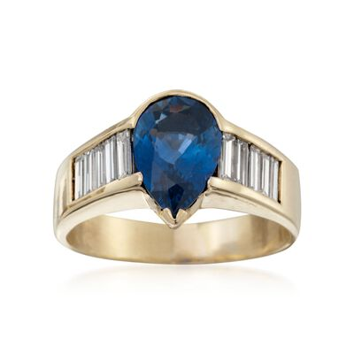 C. 1980 Vintage 2.70 Carat  Sapphire and 1.35 ct. t.w. Diamond Ring in 18kt Yellow Gold, , default