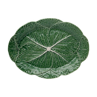 "Bordallo Pinheiro ""Cabbage"" Leaf Oval Platter, , default"