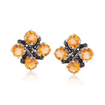 Black Spinel and 4.60 ct. t.w. Hessonite Earrings in Sterling Silver, , default