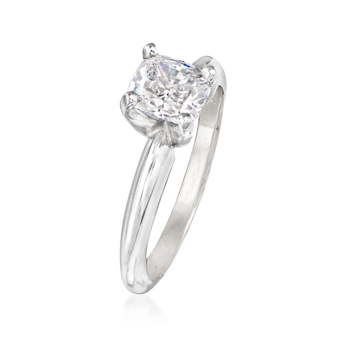 1.01 Carat Certified Cushion-Cut Diamond Engagement Ring in 14kt White Gold