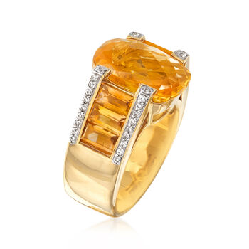 8.65 ct. t.w. Citrine and .40 ct. t.w. White Zircon Ring in 18kt Gold Over Sterling