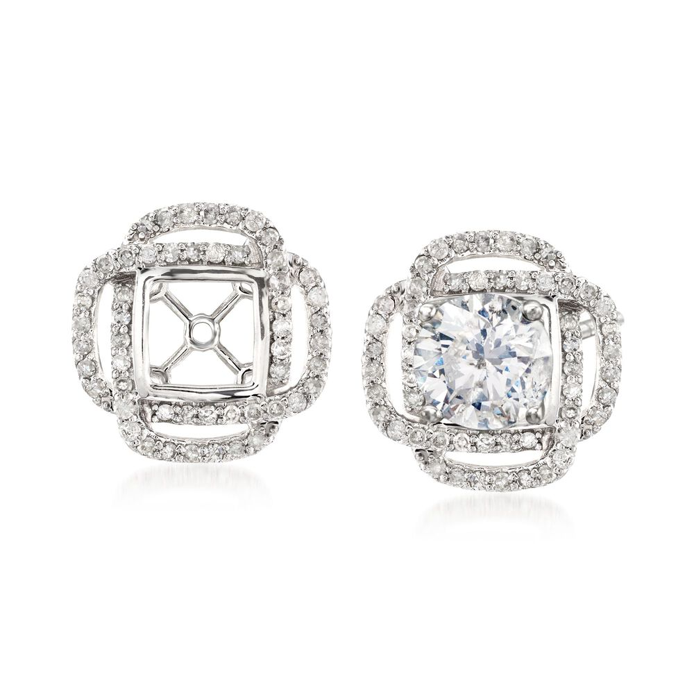 T W Diamond Square Earring Jackets In 14kt White Gold Default