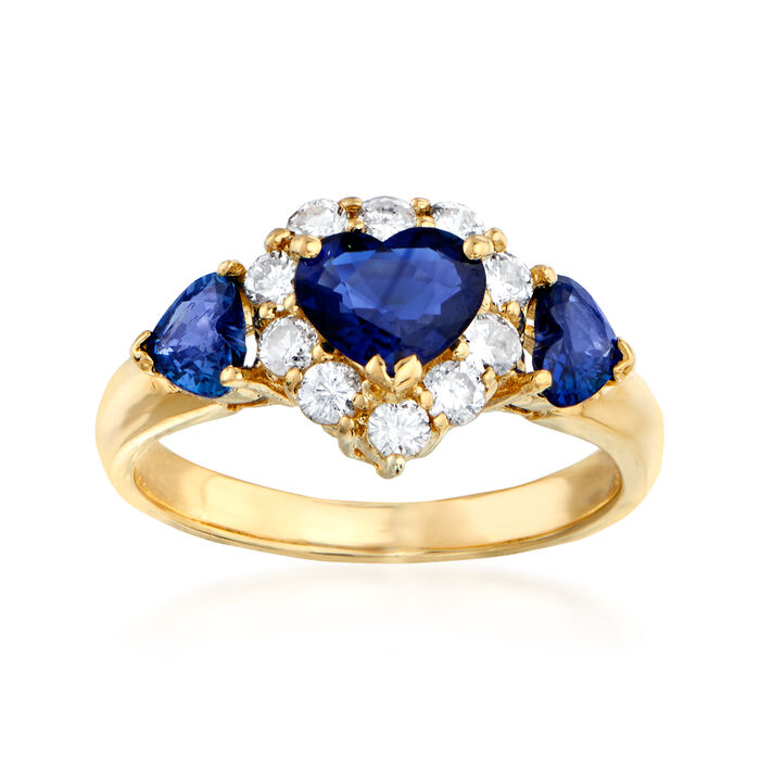 C. 1980 Vintage 1.42 ct. t.w. Sapphire and .46 ct. t.w. Diamond Heart Ring in 18kt Yellow Gold. Size 5.75