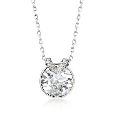 "Swarovski Crystal ""Bella"" Round Crystal Necklace in Silvertone, , default"