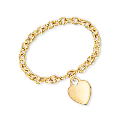 C. 1990 Vintage Tiffany Jewelry 18kt Yellow Gold Heart Charm Link Bracelet, , default