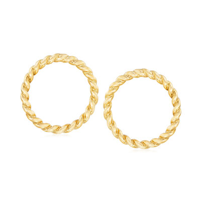 Italian 14kt Yellow Gold Twisted Open-Circle Earrings