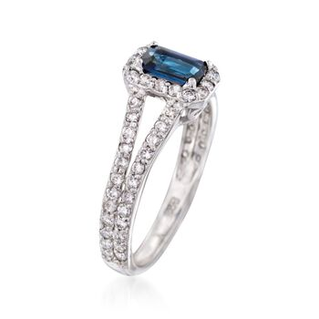 .70 Carat Sapphire and .65 ct. t.w. Diamond Ring in 14kt White Gold, , default