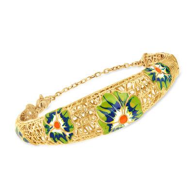 Italian Enamel Flower Cuff Bracelet in 18kt Gold Over Sterling