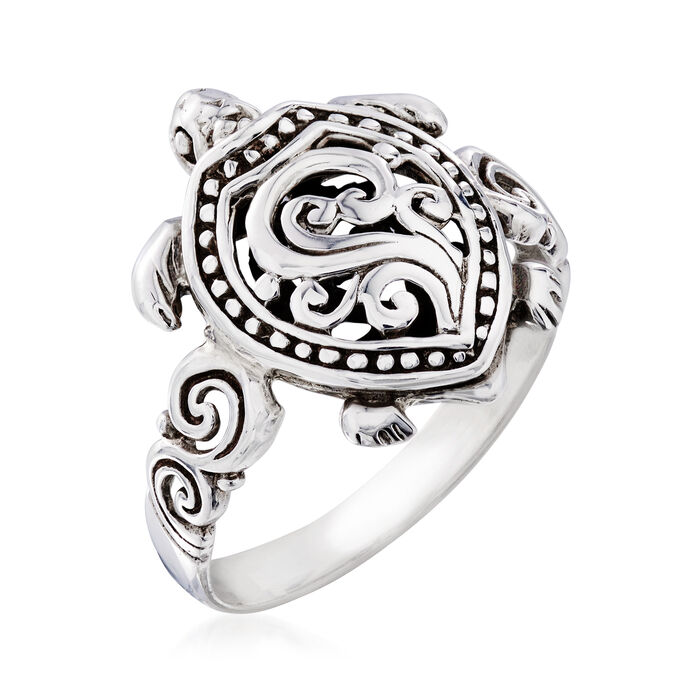 Sterling Silver Filigree Turtle Ring
