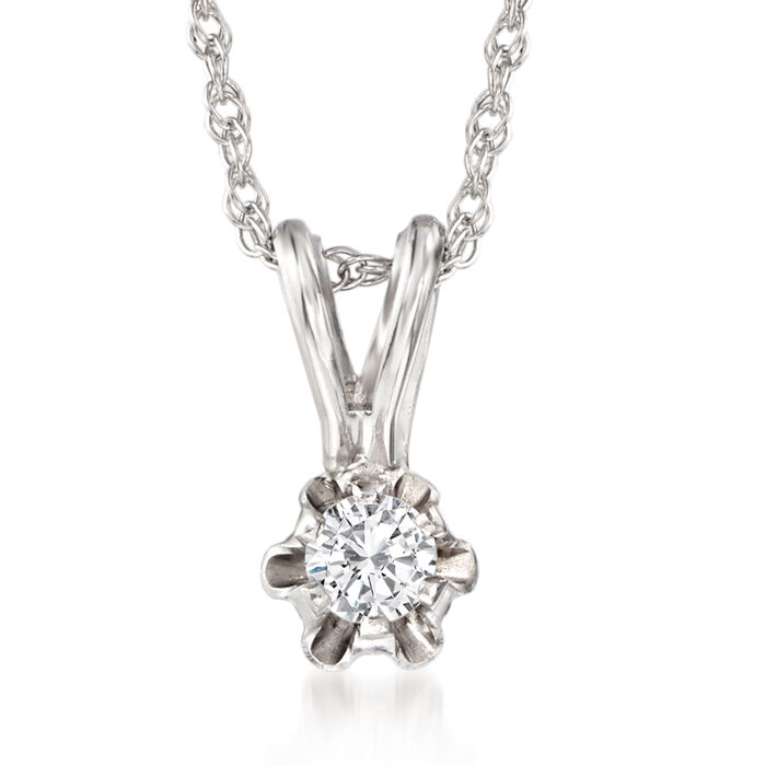 """Baby's Diamond Accent Solitaire Necklace in 14kt White Gold. 13"""""""