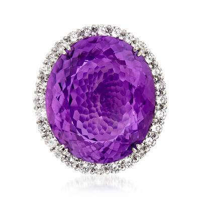C. 1980 Vintage 21.10 Carat Amethyst and 1.23 ct. t.w. Diamond Ring in Platinum