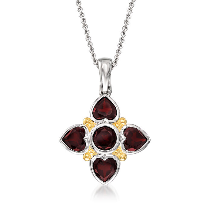 3.90 ct. t.w. Garnet Pendant Necklace in Two-Tone Sterling Silver