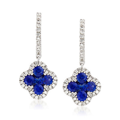 Gregg Ruth 1.02 ct. t.w. Sapphire and .26 ct. t.w. Diamond Drop Earrings in 18kt White Gold