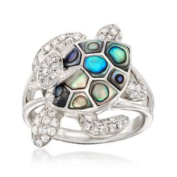 Abalone Shell and .69 ct. t.w. Diamond Turtle Ring in 14kt White Gold, , default