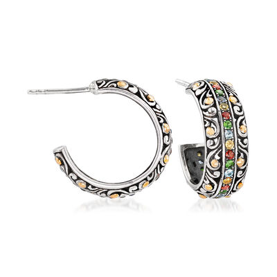 .80 ct. t.w. Multi-Gemstone Balinese C-Hoop Earrings in Sterling Silver with 18kt Gold