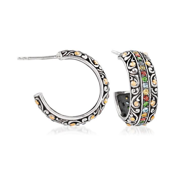 .80 ct. t.w. Multi-Gemstone Balinese C-Hoop Earrings in Sterling Silver with 18kt Gold