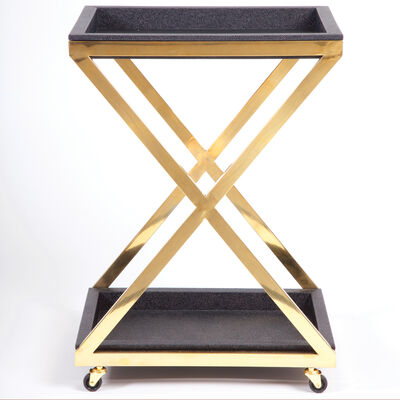 Black and Gold Square Bar Cart, , default