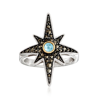 1-1.75mm Marcasite and .10 Carat Swiss Blue Topaz Star Ring in Sterling Silver with 14kt Yellow Gold, , default