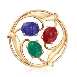 C. 1970 Vintage Multicolored Chalcedony Scarab Pin in 14kt Yellow Gold. , , default