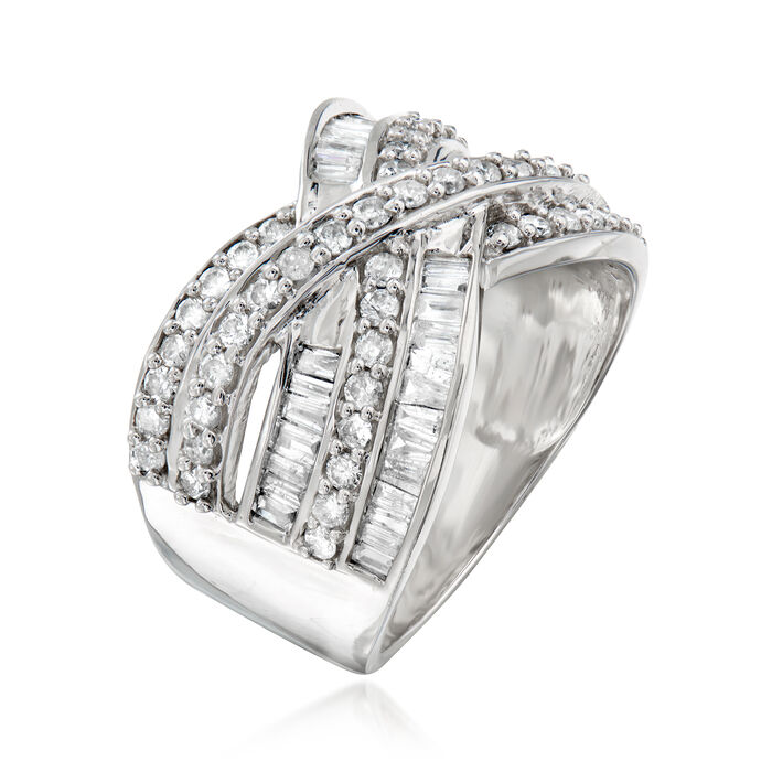 1.25 ct. t.w. Baguette and Round Diamond Highway Ring in Sterling Silver