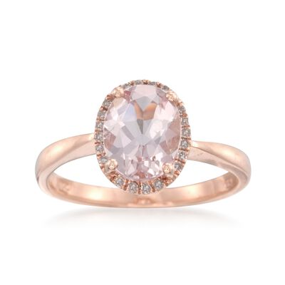 1.70 Carat Morganite and .10 ct. t.w. Diamond Ring in 14kt Rose Gold, , default