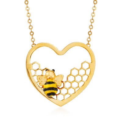 Italian 14kt Yellow Gold Bee and Honeycomb Heart Necklace with Enamel