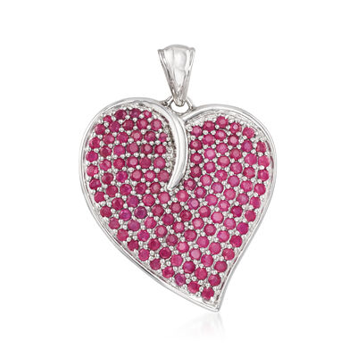 5.00 ct. t.w. Ruby Heart Pendant in Sterling Silver, , default