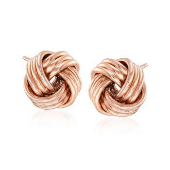 14kt Rose Gold Love Knot Stud Earrings, , default