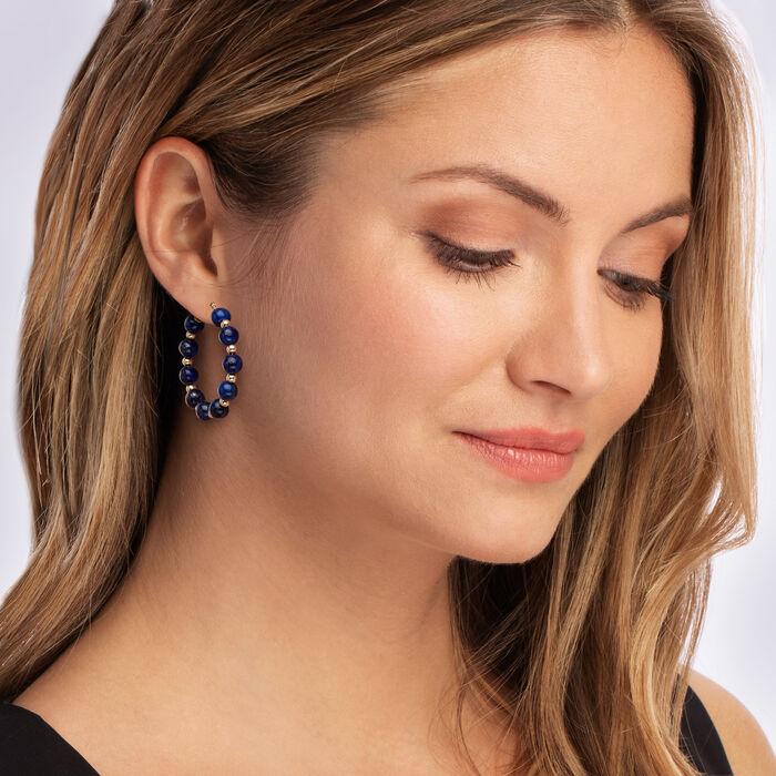 Lapis Bead Hoop Earrings in 14kt Yellow Gold