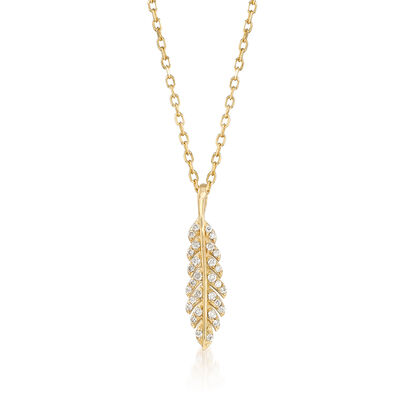 .12 ct. t.w. Diamond Feather Pendant Necklace in 14kt Yellow Gold, , default