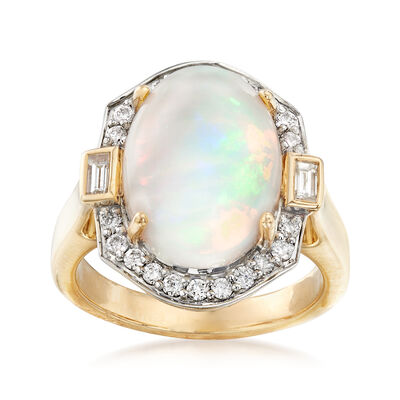Ethiopian Opal and .42 ct. t.w. Diamond Ring in 14kt Yellow Gold, , default