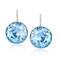 "Swarovski Crystal ""Bella"" Blue Crystal Earrings in Silvertone, , default"