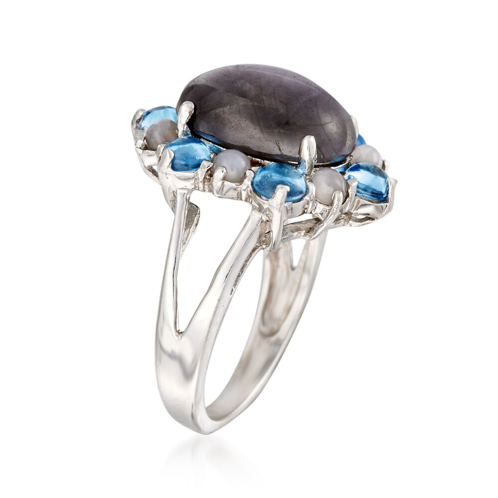 8b00e5ae9 t.w. Blue Topaz in Sterling Gray Star Sapphire Cabochon Ring With Moonstone  and 1.00 ct. t.w. Blue Topaz in Sterling ...