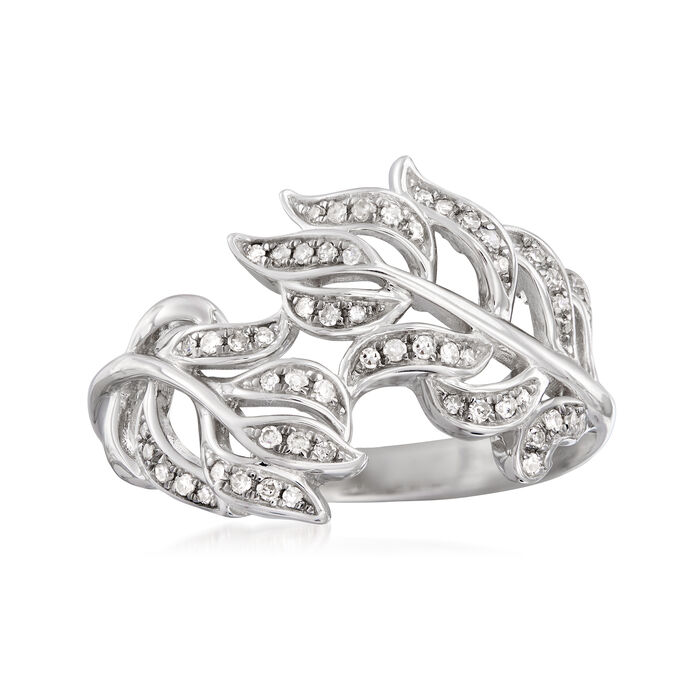 .20 ct. t.w. Diamond Leaf Bypass Ring in Sterling Silver
