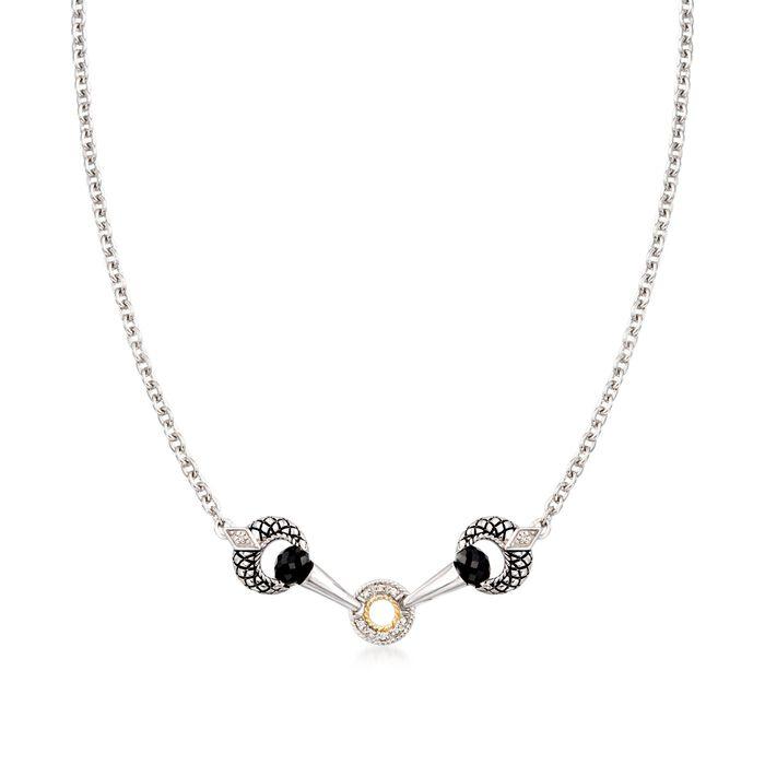 "Andrea Candela Black Onyx Necklace in Sterling Silver and 18kt Gold. 17"", , default"
