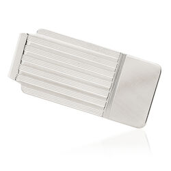 14kt White Gold Grooved Three-Initial Engravable Money Clip, , default