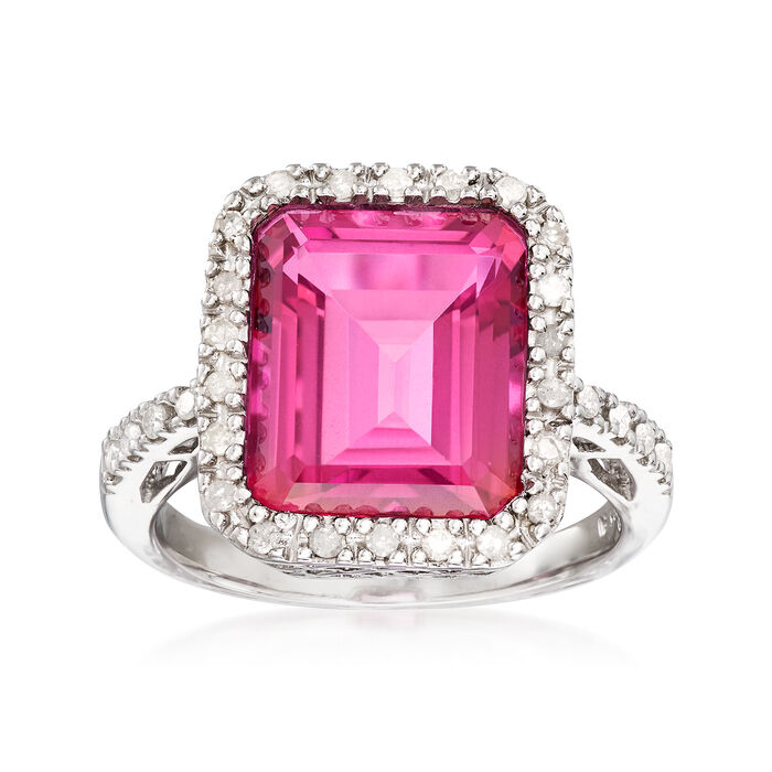 7.40 Carat Pink Topaz and .25 ct. t.w. Diamonds Ring in Sterling Silver, , default