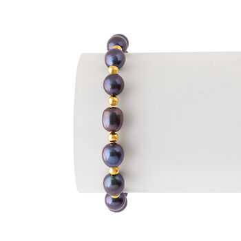 8-9mm Black Cultured Pearl and 14kt Yellow Gold Bead Stretch Bracelet
