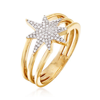 .11 ct. t.w. Diamond Star Ring in 14kt Yellow Gold, , default