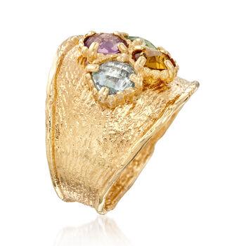 Italian 2.40 ct. t.w. Multi-Gemstone Ring in 14kt Yellow Gold, , default