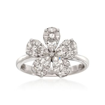Simon G. 1.10 ct. t.w. Diamond Floral Ring in 18kt White Gold, , default