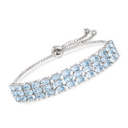 10.00 ct. t.w. Blue Topaz Three-Row Bolo Bracelet in Sterling , , default