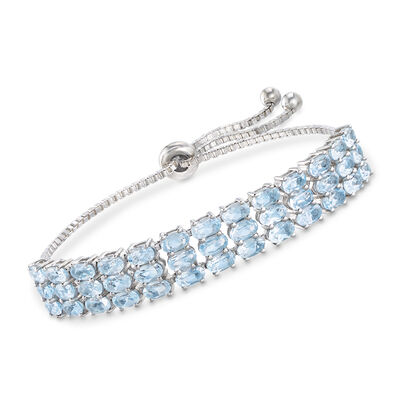 10.00 ct. t.w. Blue Topaz Three-Row Bolo Bracelet in Sterling, , default