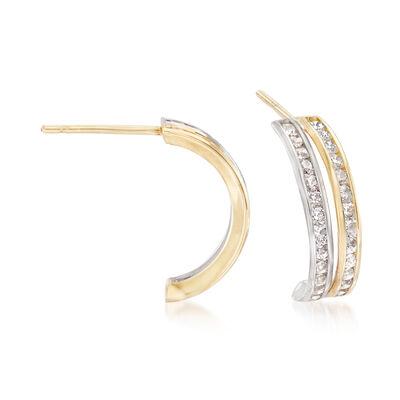 Italian 1.05 ct. t.w. CZ Double Curve Half-Hoop Earrings in 14kt Two-Tone Gold, , default