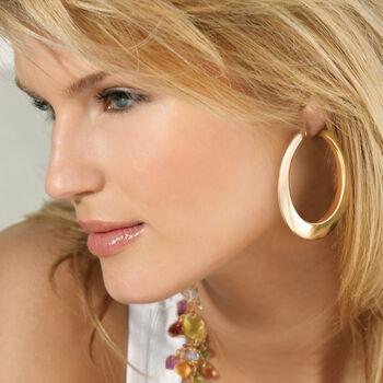 """Italian 14kt Yellow Gold Hoop Earrings. <span class='nowrap'>1 3/4""""</span>, , default"""